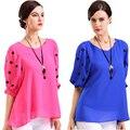 6xl плюс размер женщины одежда, blusa шифон топ, женщины горошек рубашка, blusas женские блузки, мода блузки и рубашки