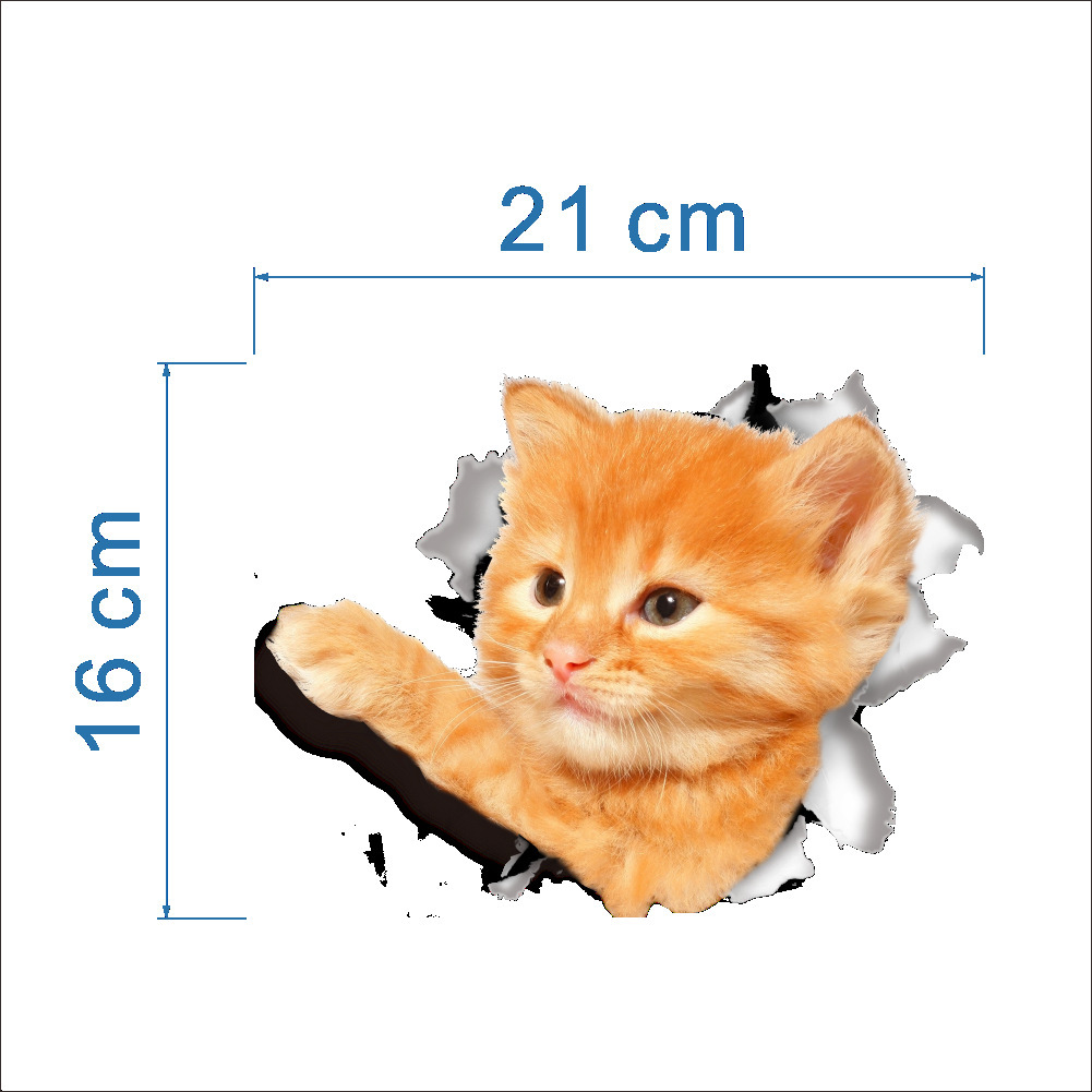 """1 шт. 3D милые наклейки """"сделай сам"""" с котом, наклейки на стену для всей семьи, украшения для окна, комнаты, ванной комнаты, унитаза, декоративные кухонные аксессуары - Цвет: 16 x 21 cm-16"""