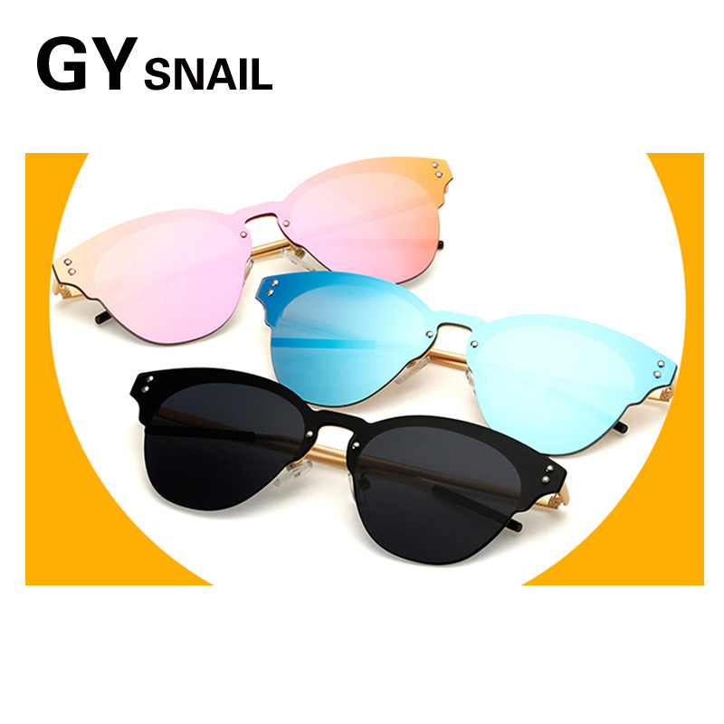 GYSnail New Trendy Vintage Rimless Integrated Lens Cat Eye font b Sunglasses b font Women Hot