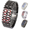Stainless Steel Bracelet Watch Men Women Lava Iron Samurai Metal LED Faceless Wristwatch New Design 5DBP