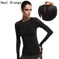 HEILEN ORANGE Frauen Yoga Top Frauen Yoga Shirts Langarm Gym Shirts Fitness Kleidung Shirt Weibliche Sport Tops Frauen Sport hemd