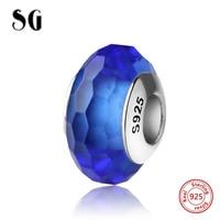 SG venda Quente contas de vidro Murano prata 925 espumante fit authentic azul encantos pandora pulseira original DIY fazer jóias presente