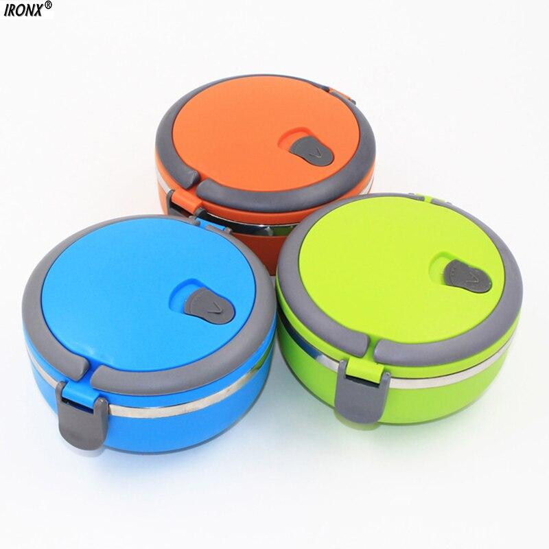 1 Pz Thermos In Acciaio Inossidabile Bento Lunch Box for Kids Cibo Container Forma Rotonda Portatile Picnic Cibo Un