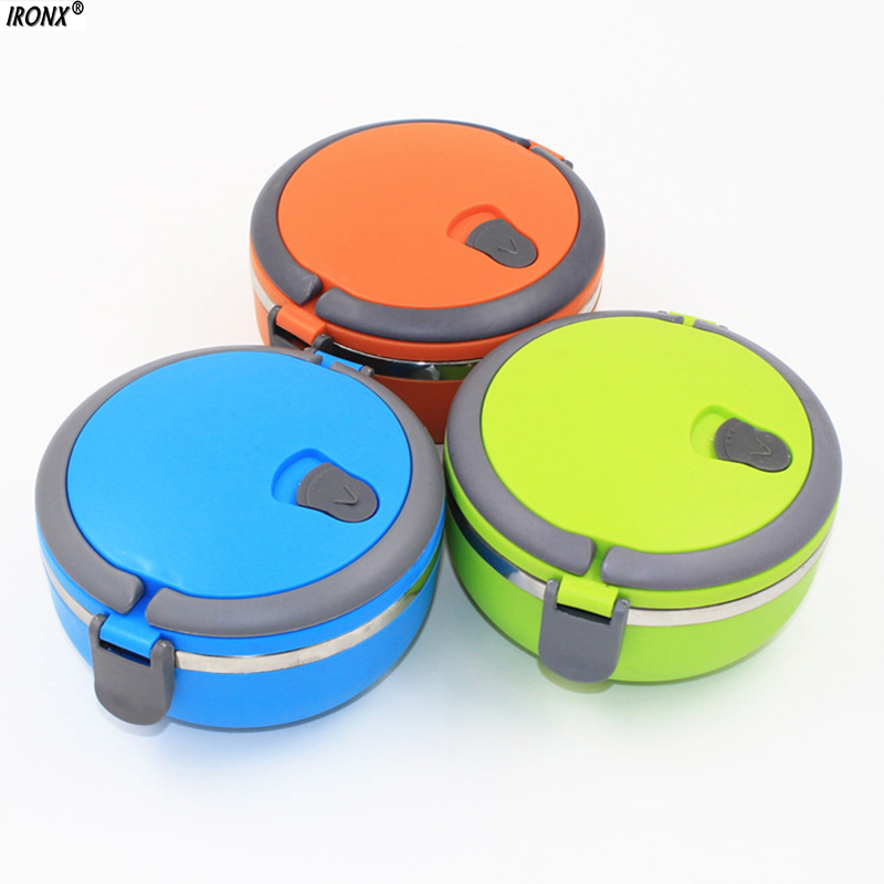 1Pcs Stainless Steel Thermos Bento Lunch Box for Kids Food Container Round Shape Portable Picnic Food A