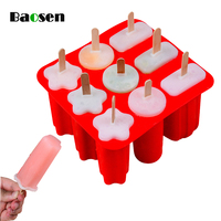 1Pcs Silicone Popsicle Molds DIY Ice Cream Cube Makers Eco-Friendly Reusable Ice Cream Mold With Popsicle Sticks Kitchen Gadget