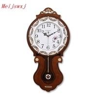 Meijswxj 80CM Height Large Wall Clock Saat Reloj Clock Relogio Duvar Saati Horloge Murale Solid Wood Pendulum Digital Wall Clock