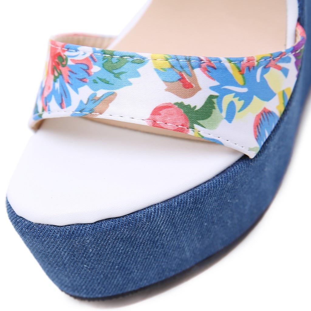 Sandales Bleu Sangle Vogue Dame Femmes Casual Floral Hauts Cales Chaussures Talons D'été Boucle Denim qECEU4R