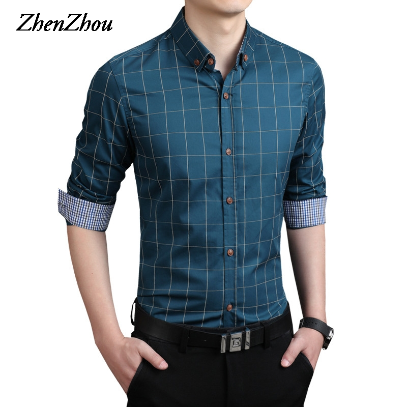 ZhenZhou Plaid Men Shirt Long Sleeve Slim Fit M-5XL 100% Cotton Mens Dress Shirts Male Clothes Social Casual Shirts For Men