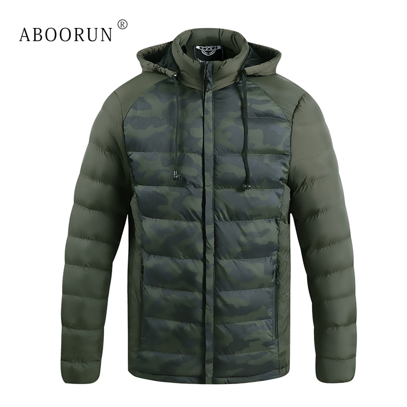 ABOORUN Winter Jacket Men's Camou Printed Hooded Jacket with Earphone Casual Warm Coat Parka for Male x2095