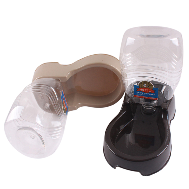 Automatic Pet Food Water Feeder Dish Bowl Pet Dog Cat Puppy Water Dispenser Food Dish Bowl Feeder Dark brown/ Coffee