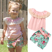 Fashion Cute Toddler Kids Baby Girl Summer Clothes Lace Ruffles Floral Top T-shirt Bow Shorts Outfits Set 2018 New new