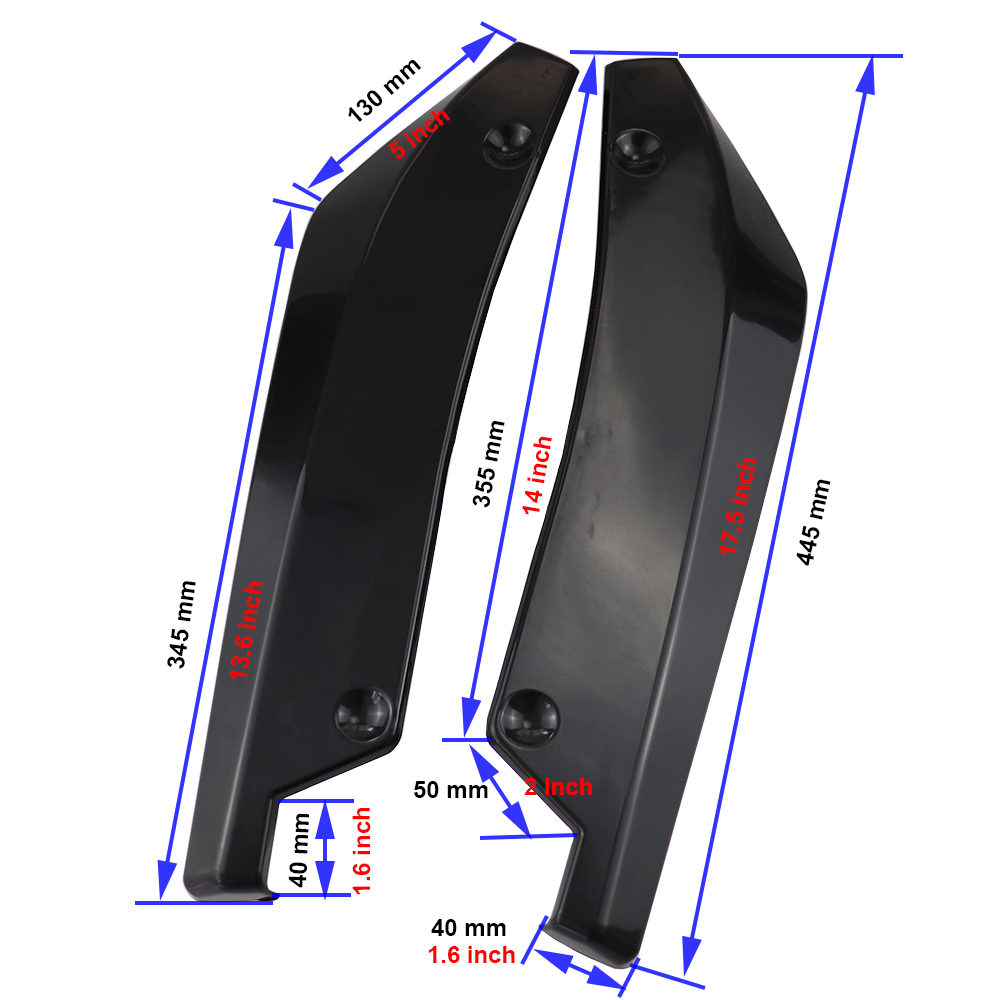 Image 3 - Car rear bumper spoiler 2pcs universal ABS material bright black collision diffuser angle separator protector automatic side fin-in Bumpers from Automobiles & Motorcycles