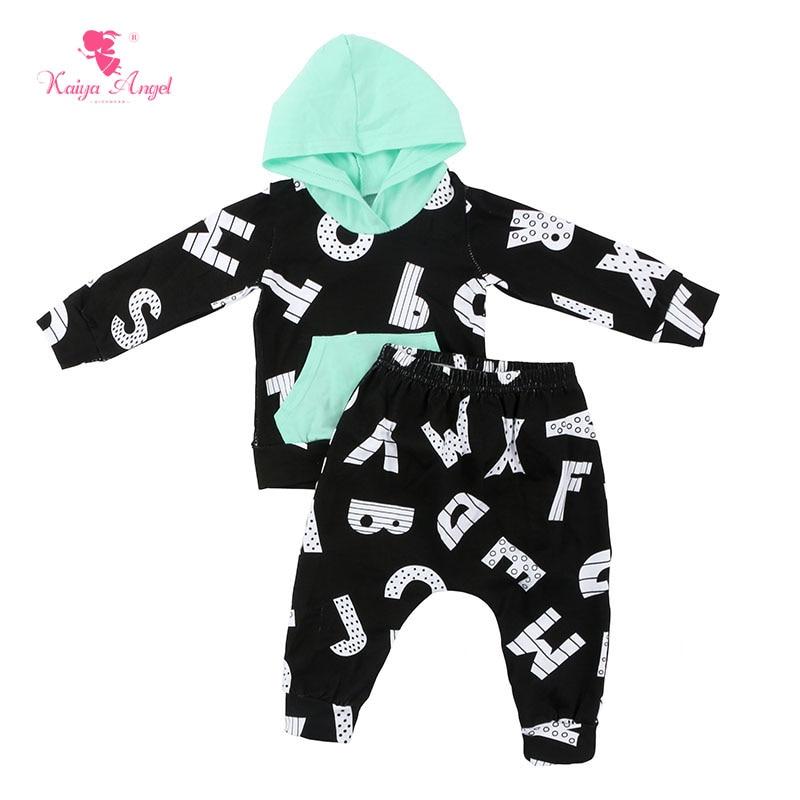 Kaiya Angel 2017 Hot Boys 2pcs newborn baby set autumn cute clothing sets tops playsuit pants Long sleeve romper bodysuit