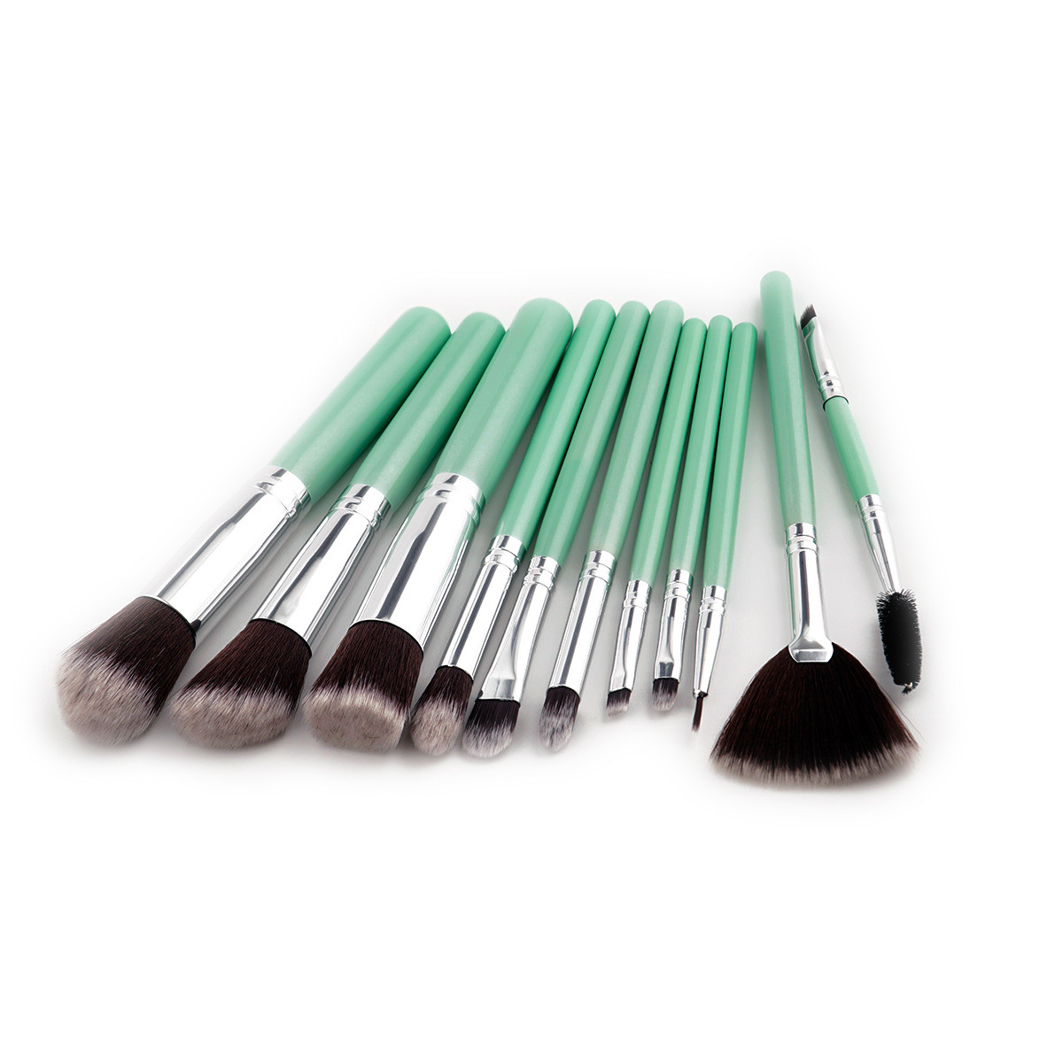 Pro 11Pcs Set Makeup Brushes Mint Green Handle Powder Foundation Eyeshadow Eyeliner Lip Cosmetics Tools Blush Brushes Hot Style mac splash and last pro longwear powder устойчивая компактная пудра dark tan