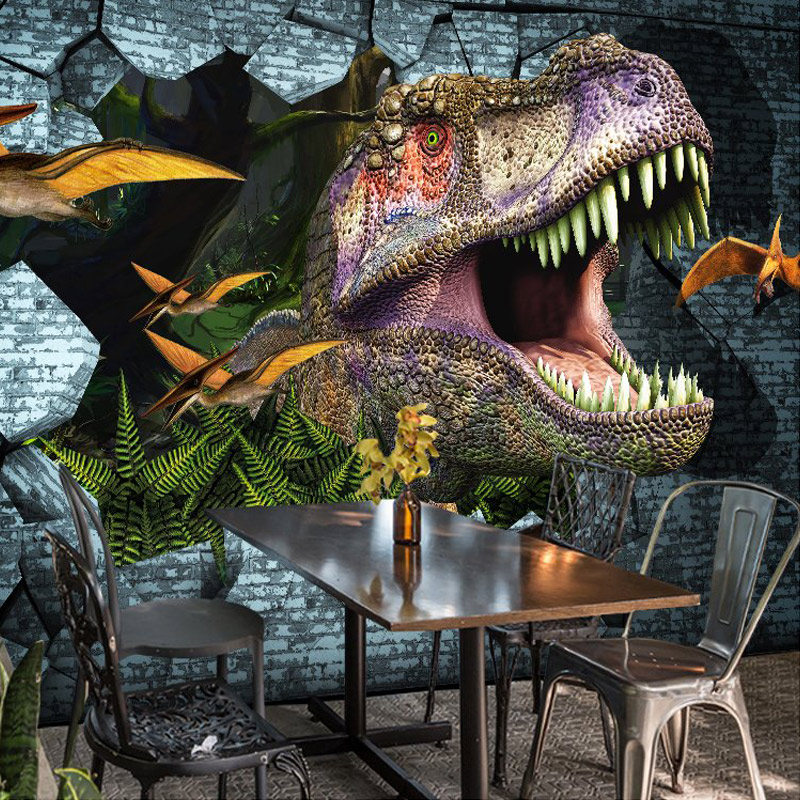 3d Wallpaper Animal Dinosaur Broken Wall Mural Restaurant