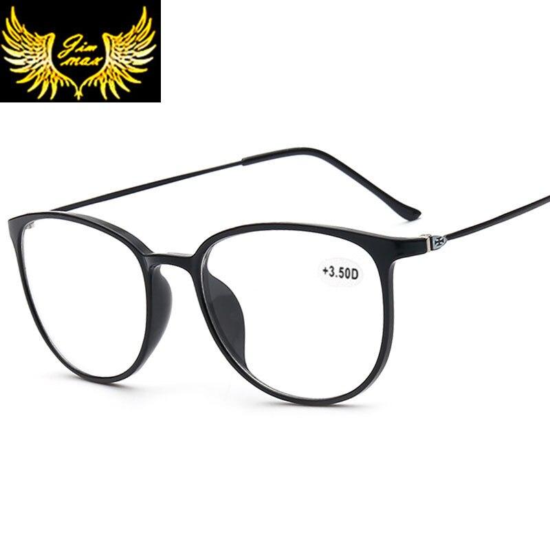Novo design feminino estilo cr39 lentes óculos de leitura moda borda cheia redonda presbiopia eyewear para mulher
