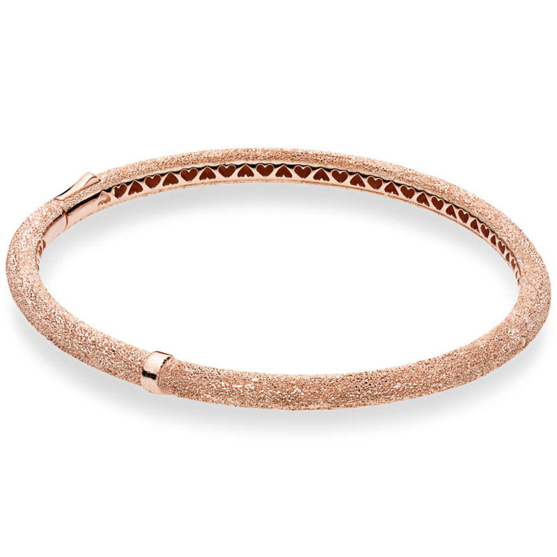 New 925 Sterling Silver Bracelet Grooved Hearts Rose Matte Brilliance Bracelet Bangle Fit Women Bead Charm