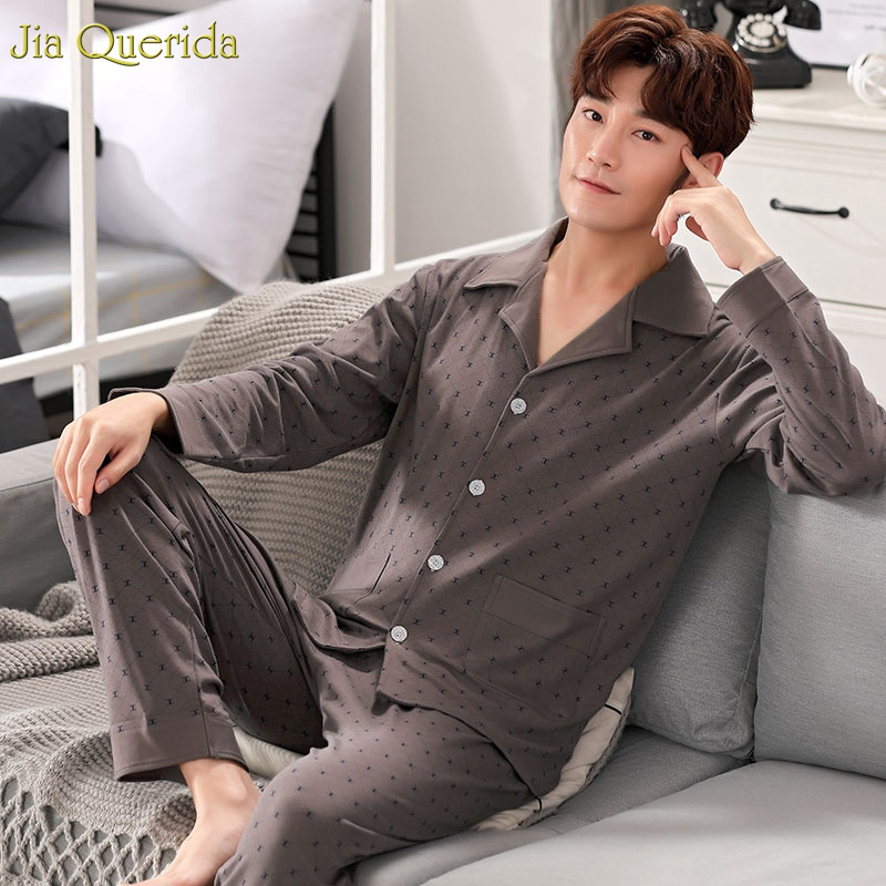 Men Sleepwear Plus Size Solid Luxury Male Pajamas Long Sleeve Nightwear 3xl 4xl Mens Pajama Set 100% Cotton High Quality Pyjamas