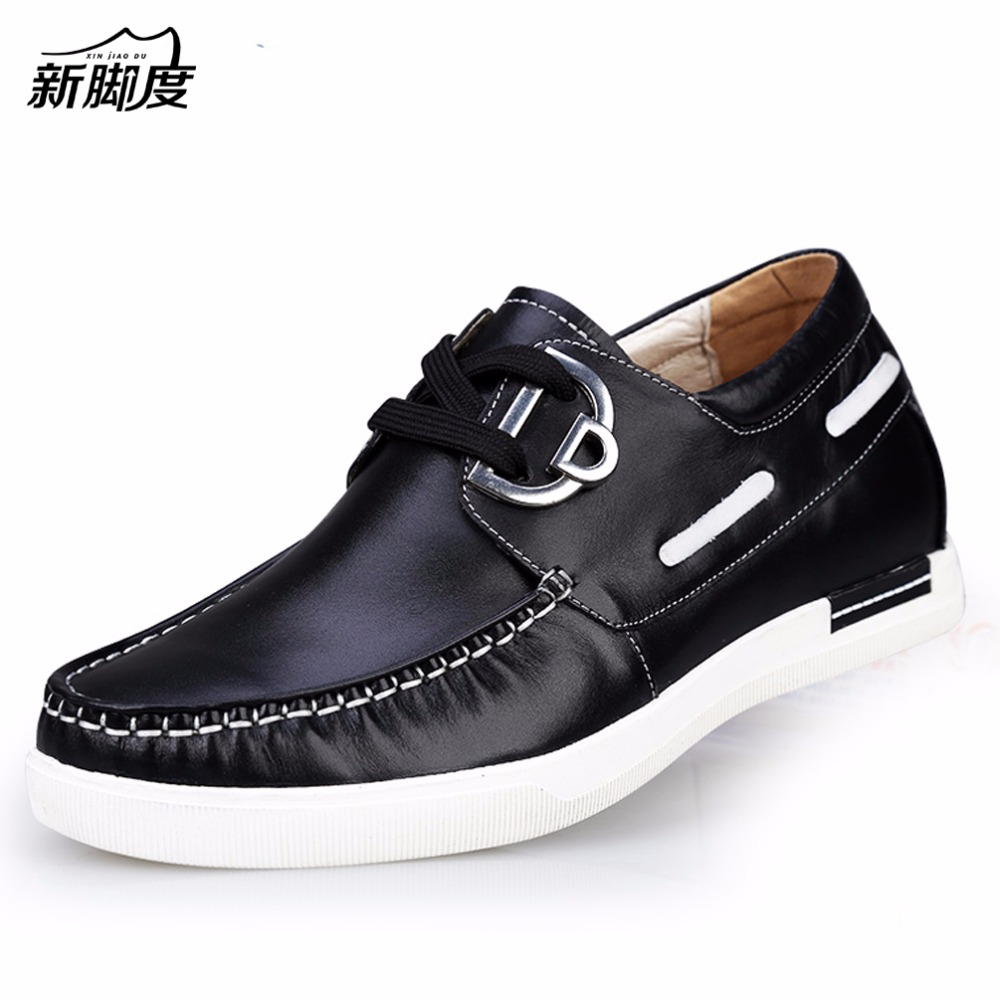 X8736-2 Casual Genuine Leather Flats Shoes Elevate High 6CM for Fashion Boys Match Jeans Color /Blue /yellow/black Sz37-43 x9055 1 casual genuine leather flats shoes elevate high 6cm for fashion boys match jeans color brown black sz37 43