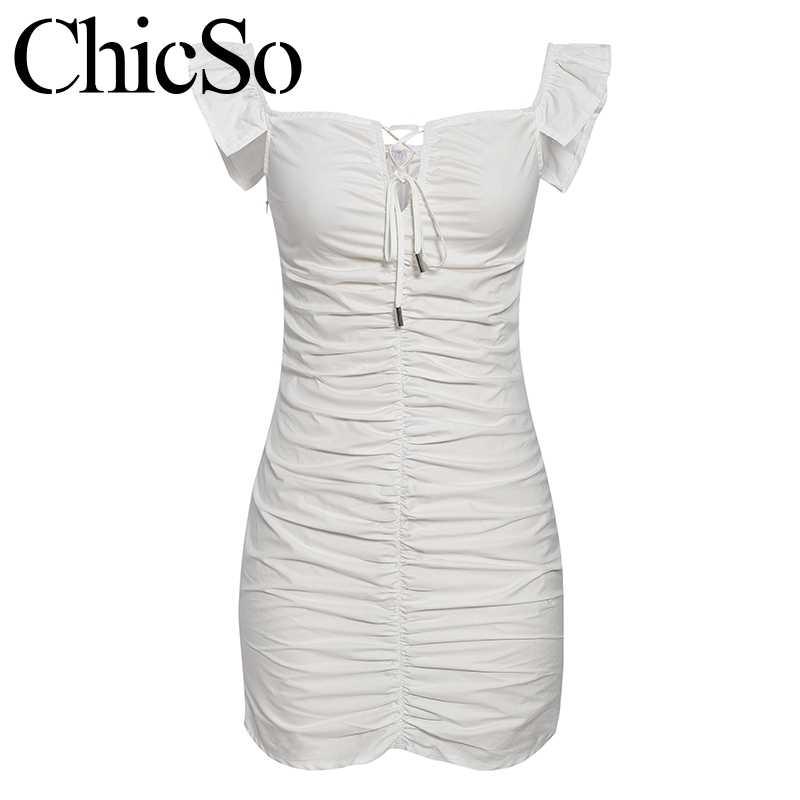 MissyChilli плиссированное белое облегающее платье с оборками женское летнее кружевное сексуальное короткое платье элегантное женское вечерние клубное мини-платье festa
