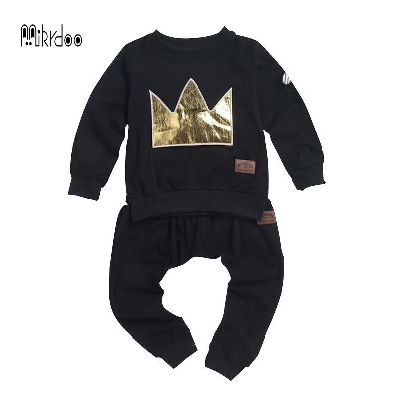 Baby boy clothes black T-shirt pants suit pattern crown cotton top trousers long sleeve infantil clothing set casual outwear hot 30 new styles festival gifts top trousers lifestyle suit casual clothes trousers for barbie doll 1 6 bbi00636