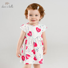 DBA9360 dave bella summer baby girls princess cute love print dress children fashion party dress kids infant lolita clothes