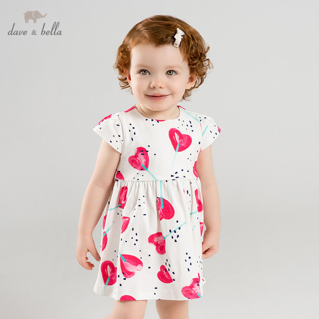 DBA9360 ديف بيلا الصيف طفلة الأميرة لطيف الحب طباعة فستان أطفال موضة فستان الحفلات الاطفال الرضع لوليتا الملابس