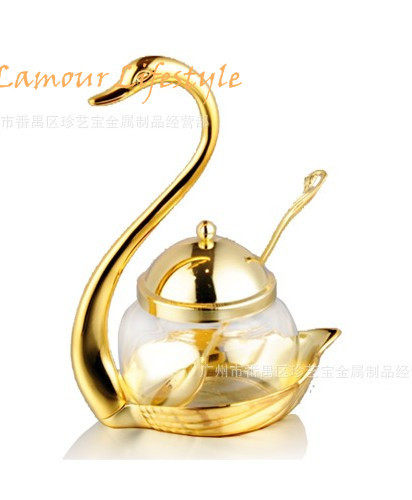 Cuchara de azúcar de cisne de acero inoxidable botella de sal y pimienta azucarero sal y pimienta conjunto dorado