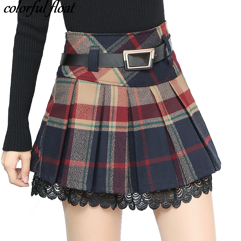 2017 Autumn New Plaid SkirtS High Waist Thin Pleated Skirt Package Hip Skirt Short Female