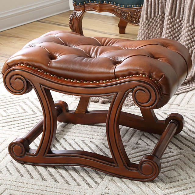 Peachy Louis Fashion American Rocking Chair Ottoman Solid Wood Leather Shoe Change Ottoman European For Stool Door Short Links Chair Design For Home Short Linksinfo