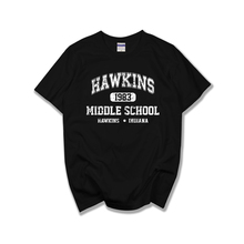 New Summer T-Shirts US drama Strange Story Peripheral HAWKINS Hawkins short sleeve t shirts tee tshirts 100% cotton t-shirt