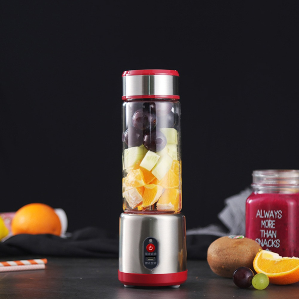 Mini Electric USB Rechargeable Portable Blender Smooth Maker Juicer Cup Shaker Squeezer Lemon Fruit Orange Juice Extractor 500ml