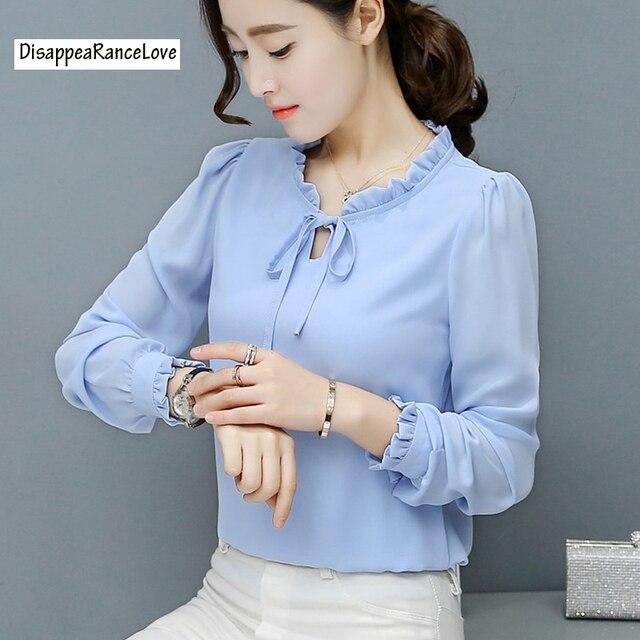 d6dcbcc307c DRL бренд 2018 Весна и лето шифоновая рубашка женская с длинным рукавом  белая Модная рубашка свободный
