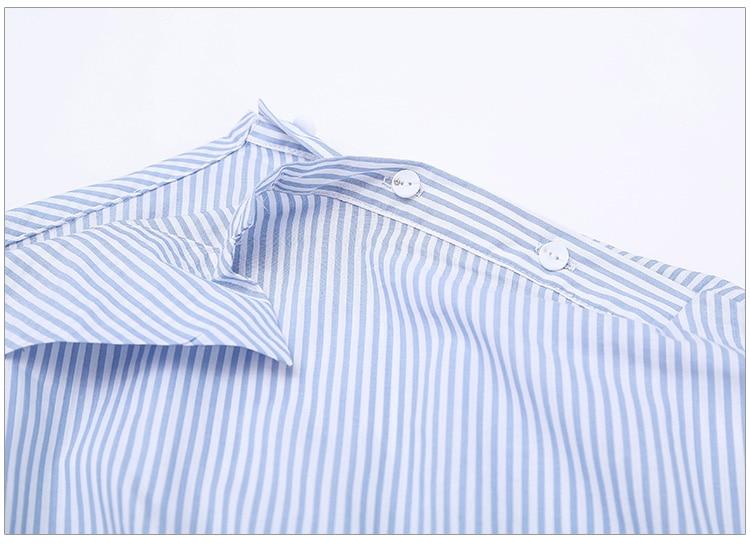 2017Fashion one shoulder Blue striped women shirt dress Sexy side split Elegant half sleeve waistband Casual beach dresses 11