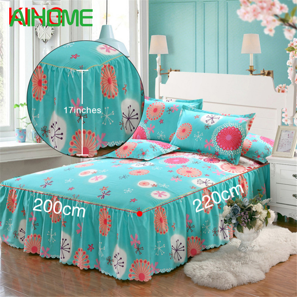 Romantic Bloom Pattern Bed Skirt Matte Non-slip Dust Ruffle Queen Size Bedspread Chandler Bed Skirt 150 * 200cm