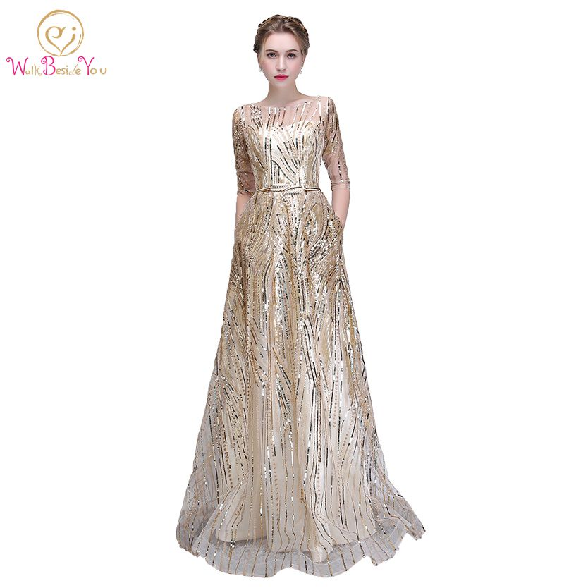 Walk Beside You Gold Bling Evening Dresses Champagne Sequined A line Elegant with Belt Prom Gowns