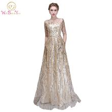 Walk Beside You Gold Bling Evening Dresses Champagne Sequined A-line Elegant with Belt Prom Gowns Long Sleeve Vestido De Festa