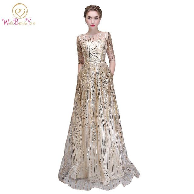 Walk Beside You Gold Bling Evening Dresses Champagne Sequined A line ...