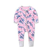 Girls ' Clothing Newborn Infant Baby Boys Girls Zipper Print Romper Jumpsuit Clothes Outfits Y1207