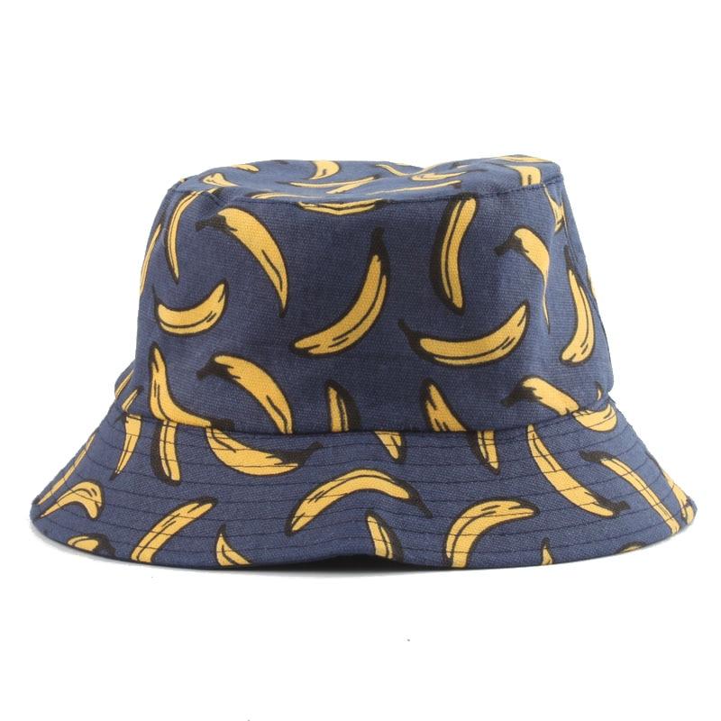 Panama Bucket Hat Men Women Summer Bucket Cap Banana Print Bob Hat Hip Hop Gorros Fishing Fisherman Hat