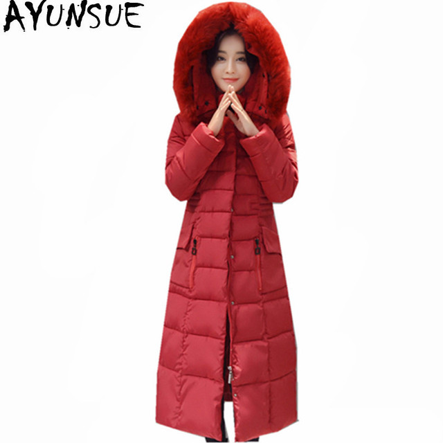 92f87d91a42ef AYUNSUE Plus Size Winter Jacket Women Warm Parkas Cotton-Padded Women s  Jackets Red Coat Female Long Parka Mujer Casaco WXF483