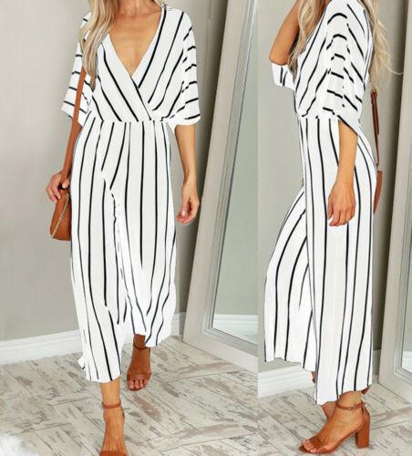 Women Short Sleeve Striped Loose Jumpsuit Baggy Wide Leg Trousers 2020