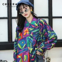 Cheerart Color Block Long Sleeve Shirt Women Blouse Colorfull Floral Blouse Vintage Top Button Shirt Femme Clothing