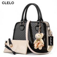 CLELO Brand New 2016 Women Bag With Fashion Doll Composite Bag For Female PU Leather Geometric Print Drop Shipping