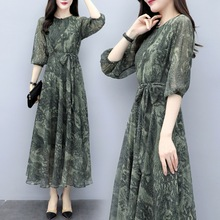 2019 New Spring Summer Chiffon Print Long Casual Dress Sexy V Neck Half Sleeves Maxi Green Boho Work Party Floral Princess Dress black random floral print half flared sleeves mini dress