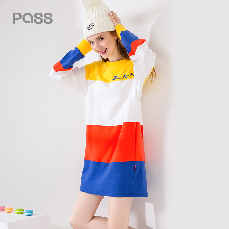 PASS 2017 Autumn Dress Fashion Women Long Sleeve Striped Colorful Dresses Casual Looose O Neck Letter