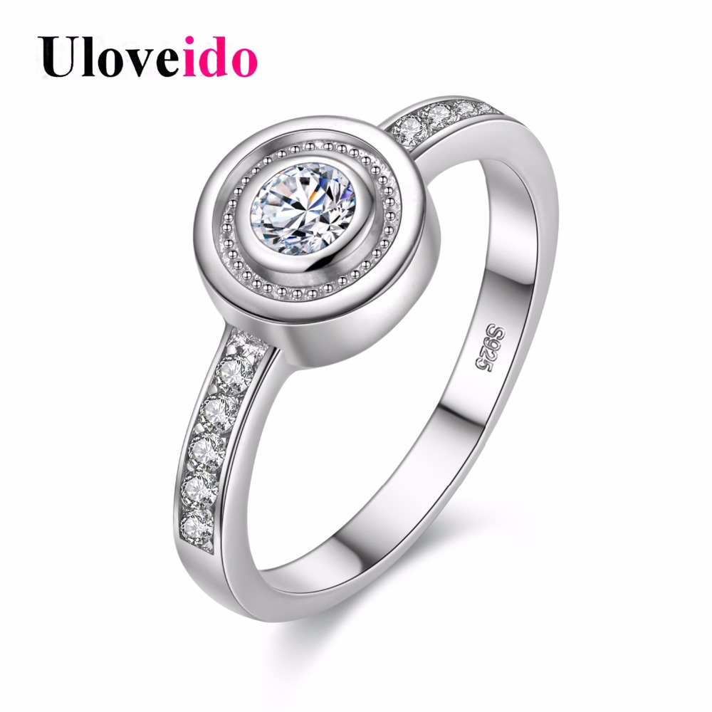 Uloveido 2018 Exclusive Silver Color Round Cubic Zirconia Rings for Women Fashion Charms Ring Wedding Jewelry Bague Femme Y035