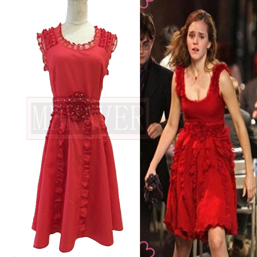 The Deathly Hallows Hermione Granger Red Sleeveless Dresses Cosplay Costume Halloween Uniform Outfit Customize Any Size