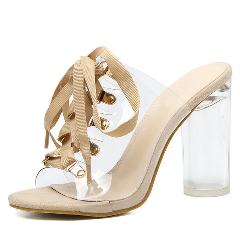New Arrivals PVC Lace-up Sandals For Women Peep Toe Transparent Crystal Heel Mules Sexy Chunky High-heeled Mules Summer Shoes the new fashion sexy high heeled pointed shoes lace up women sandals