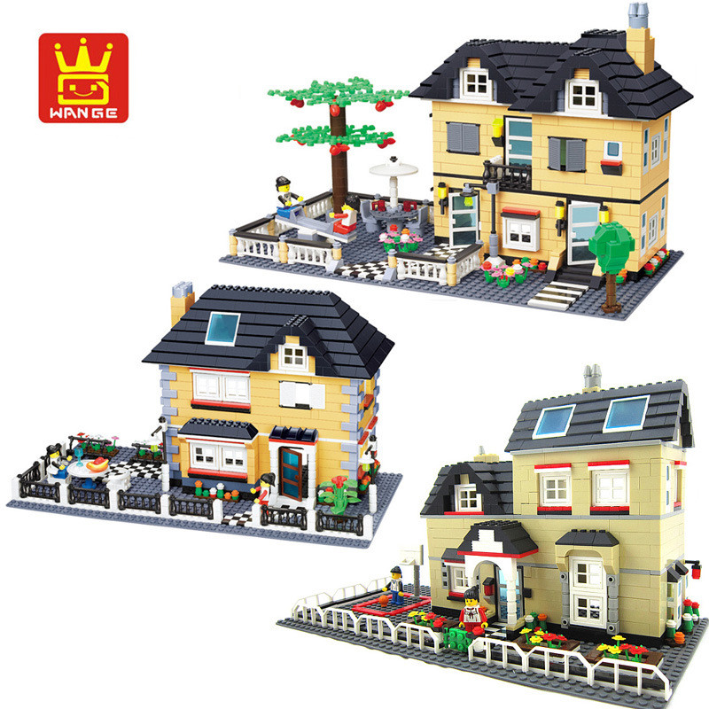 WANGE City Villa Garden Building Blocks Sets Doll House Bricks Model Kids Children gifts Toys Compatible Legoe lepin 02012 city deepwater exploration vessel 60095 building blocks policeman toys children compatible with lego gift kid sets